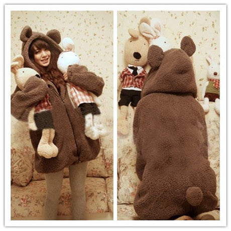 Cartoon Hooded Zipper Solid Bubble Cuff Long Coat - Oh Yours Fashion - 1