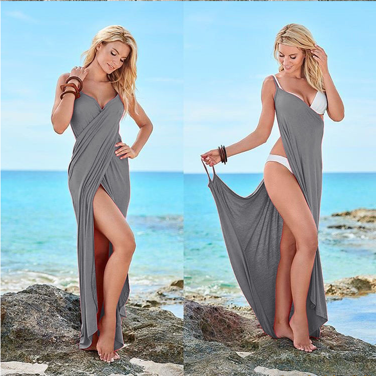 Pure Color V-neck Spaghetti Straps Sleeveless Long Beach Dress