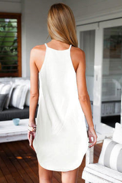 Bear Shoulder O-neck Sleeveless Irregular Short Dress - Oh Yours Fashion - 2