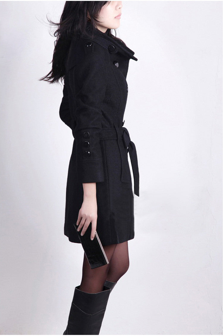 Double Breasted Stand Collar Belt Slim Long Plus Size Coat - Oh Yours Fashion - 5