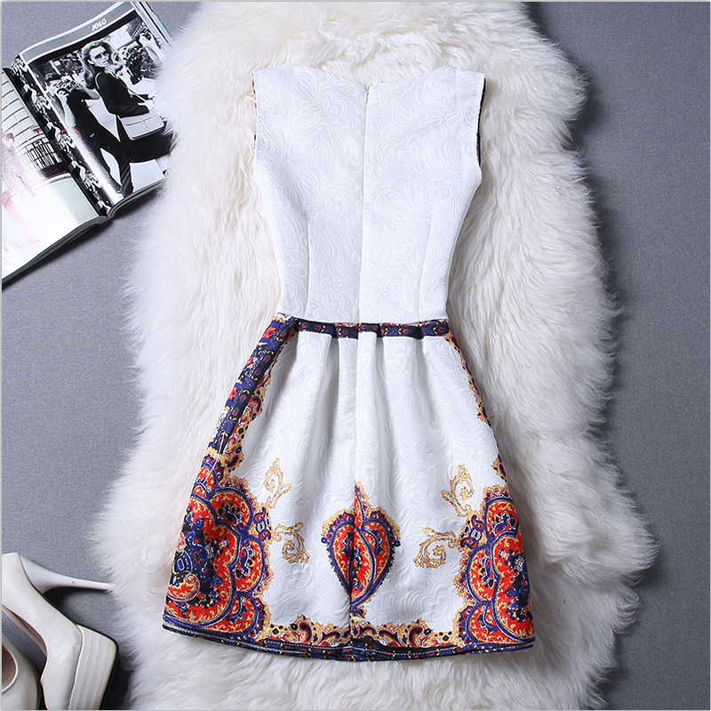 Elegant Vintage Flower Print Sleeveless Mini Tank Dress - MeetYoursFashion - 3