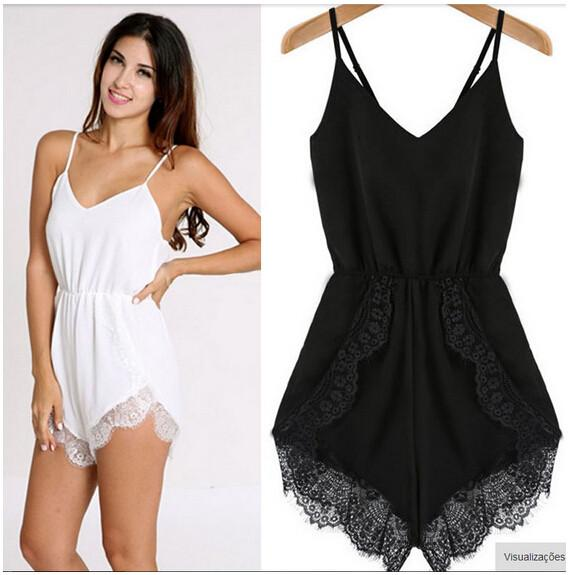 Spaghetti Strap Sleeveless V-neck Backless Lace Chiffon Party Jumpsuits - Meet Yours Fashion - 4