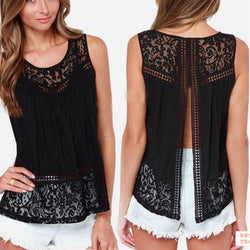 Sleeveless Scoop Lace Patchwork Spilt Crochet Blouse