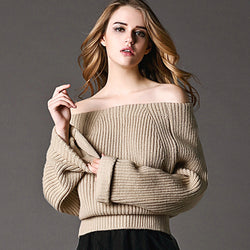 Sexy Off Shoulder Loose Knitting Sweater - Oh Yours Fashion - 1