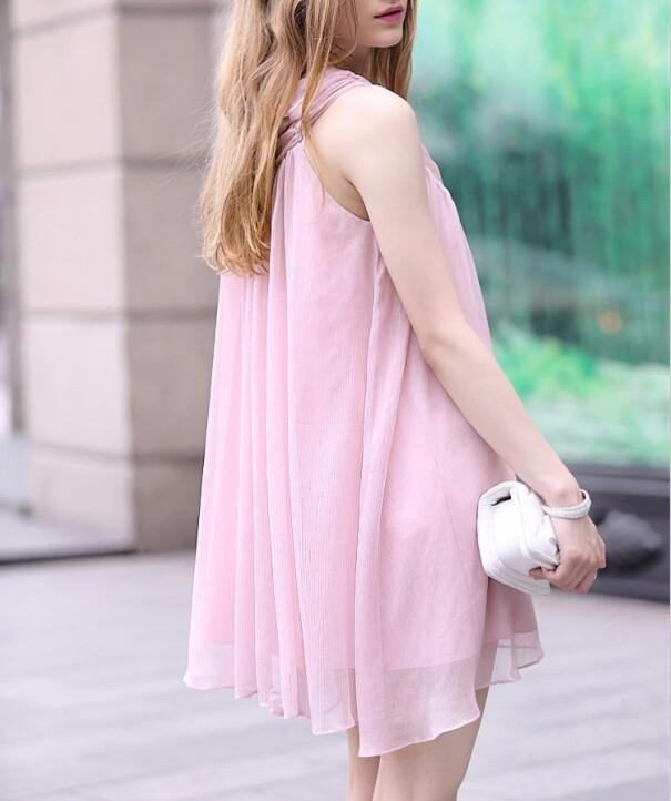Chiffon Sleeveless Loose V-neck Short Maternity Dress - Meet Yours Fashion - 5