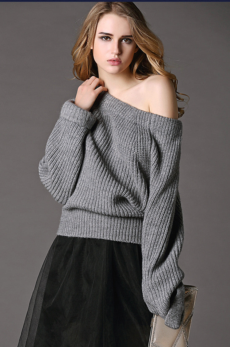 Sexy Off Shoulder Loose Knitting Sweater - Oh Yours Fashion - 2