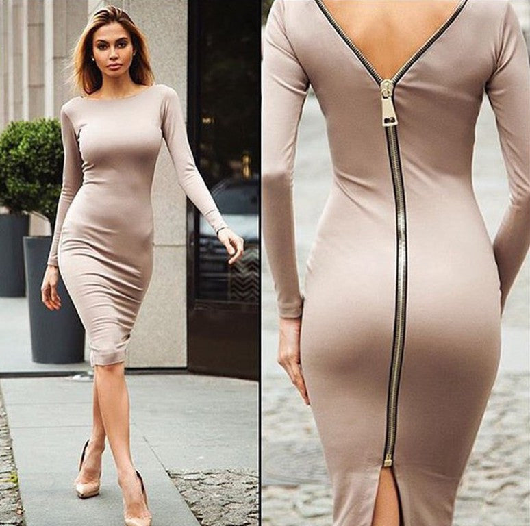 Zipper Long Sleeve Pure Color O-neck Knee-Length Dress - Oh Yours Fashion - 2