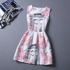 Print Pleated Short Mini Tank Dress - O Yours Fashion - 13