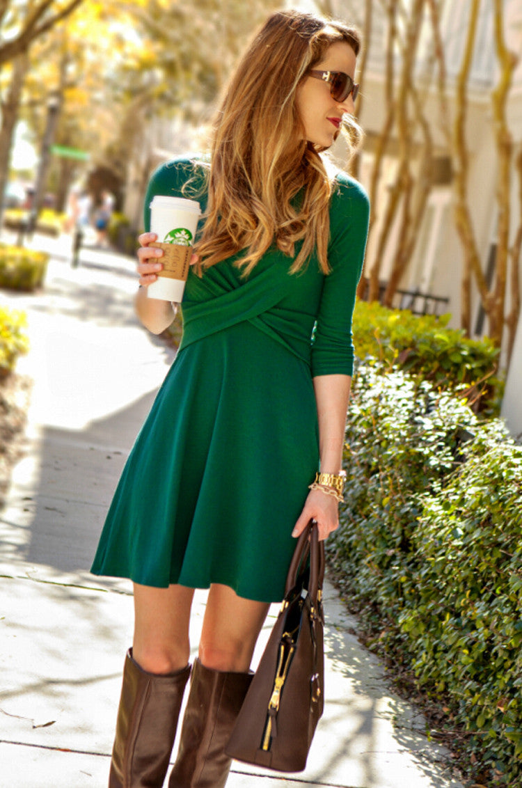 Fashion Cross Long Sleeve Scoop Short A-Line Dress - Oh Yours Fashion - 3