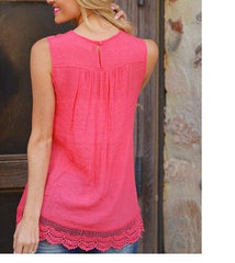 Lace Patchwork Sleeveless Scoop Casual Plus Size Blouse - Oh Yours Fashion - 7