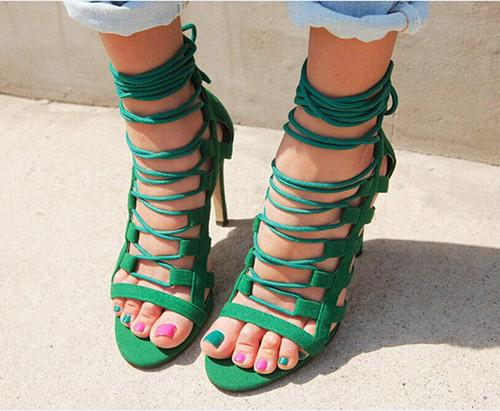 Cage Lace Up Single Sole Heels - Meet Yours Fashion - 3