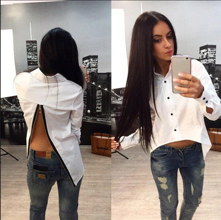 Irregular Split Pure Color Back Zipper Turn-down Collar Blouse - Oh Yours Fashion - 1