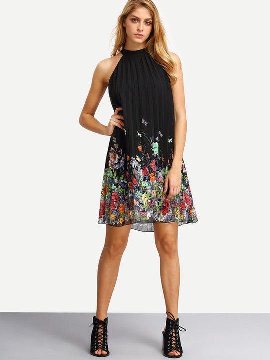 Sleeveless Halter Pleated Loose Dress - Oh Yours Fashion - 5