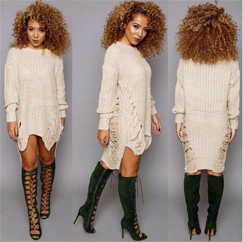 Hollow Out Knitting Irregular Long Sweater Dress - Oh Yours Fashion - 1