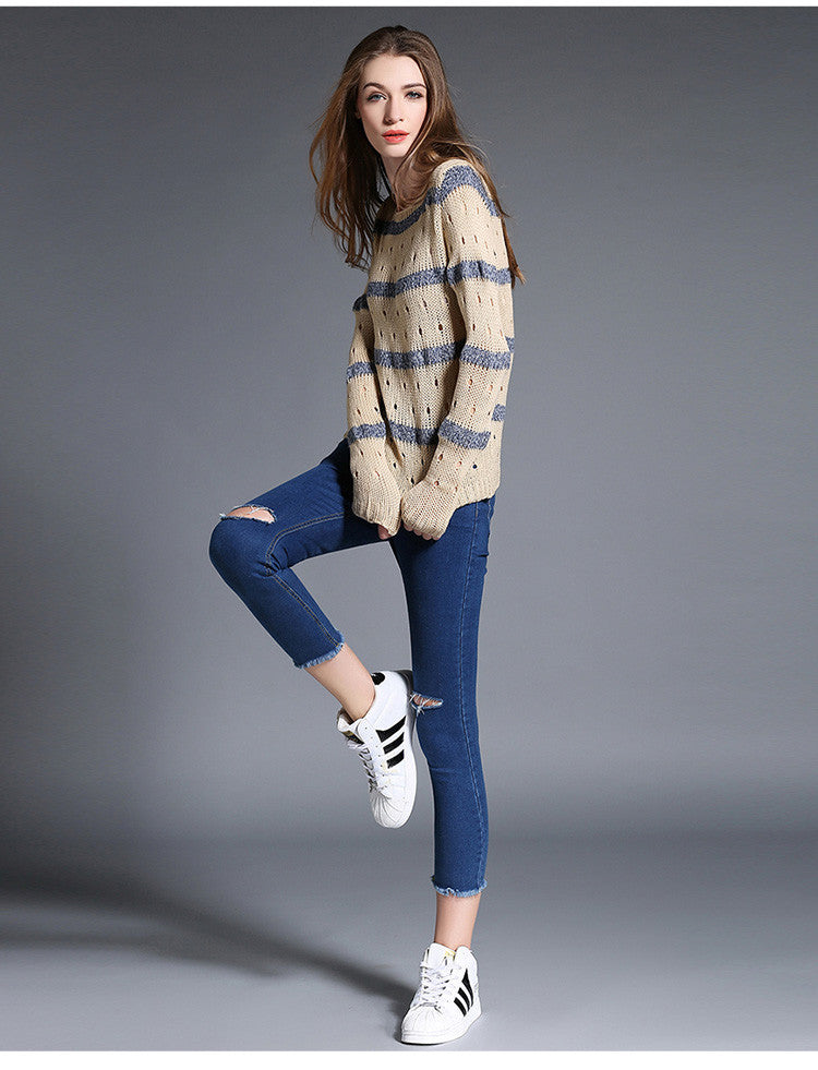 Fashion Stripe Hollow Out Pullovers Knitwear Sweater - Oh Yours Fashion - 7