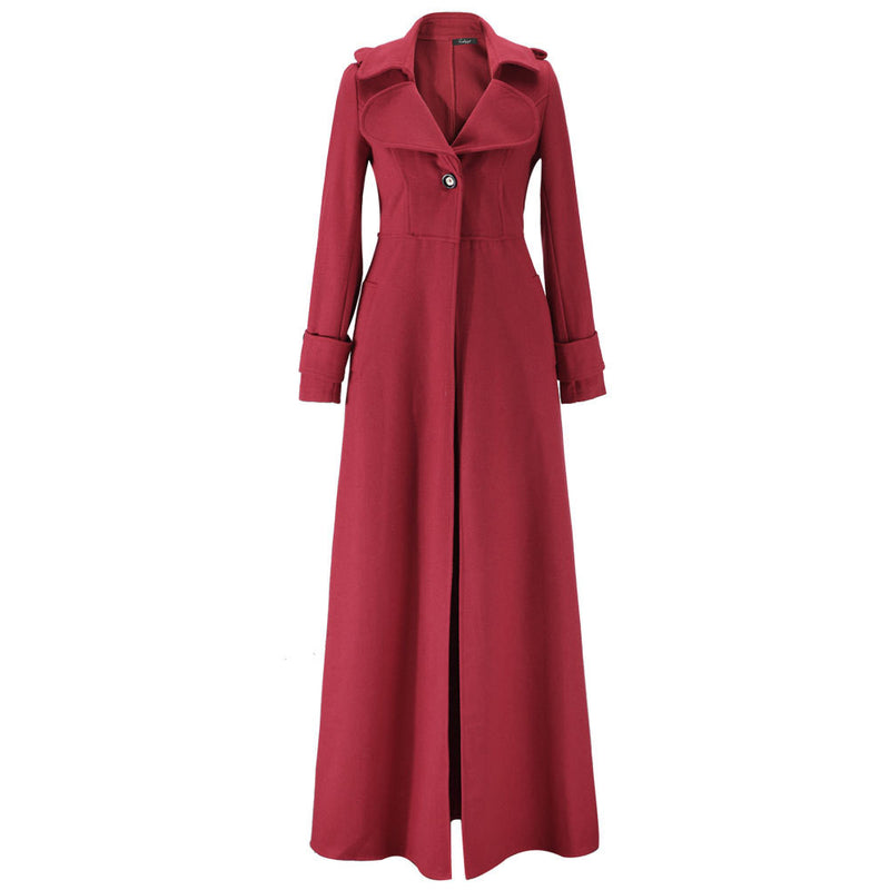 Turn-down Collar Woolen Slim Full Length Coat - Oh Yours Fashion - 8
