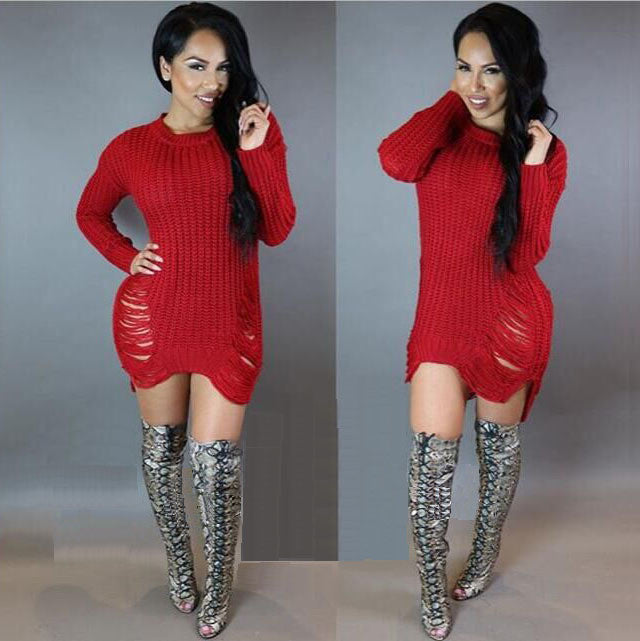 Hollow Out Knitting Irregular Long Sweater Dress - Oh Yours Fashion - 6