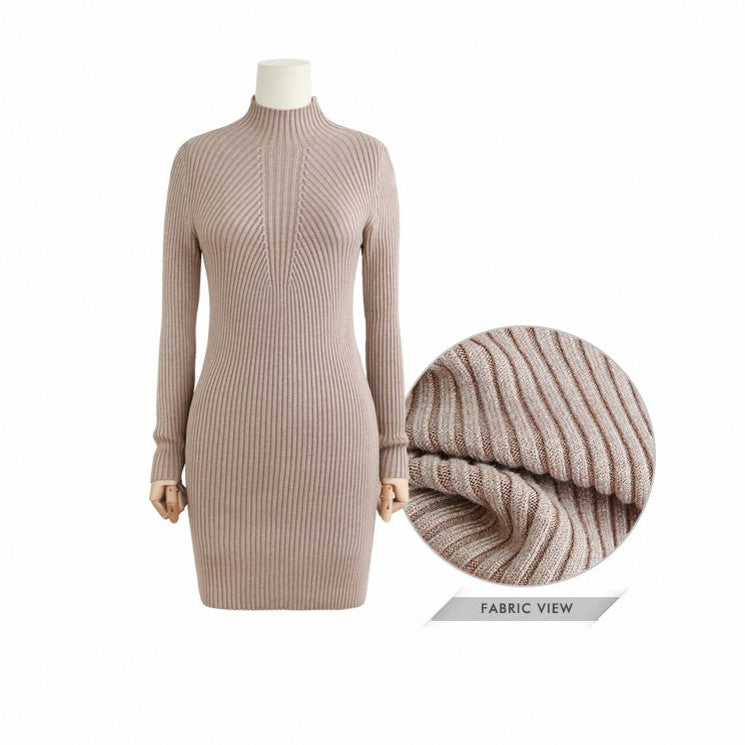 High Neck Bodycon Knitting Sweater Dress - Oh Yours Fashion - 9