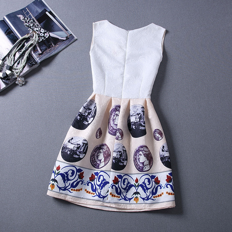 Print Pleated Short Mini Tank Dress - O Yours Fashion - 9