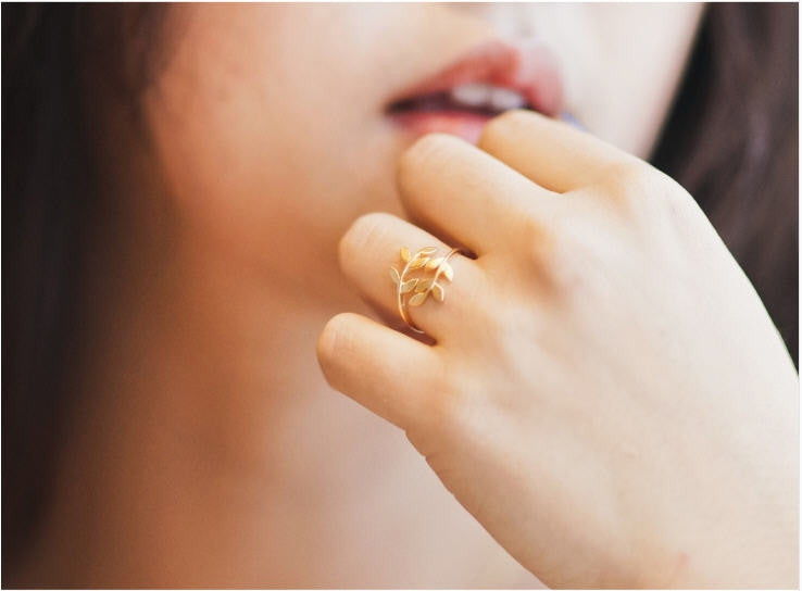 Olive branch leaf ring - Oh Yours Fashion - 5