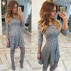 Fashion Gray A-Line Pleated Long Sleeve Short Dress - Oh Yours Fashion - 1
