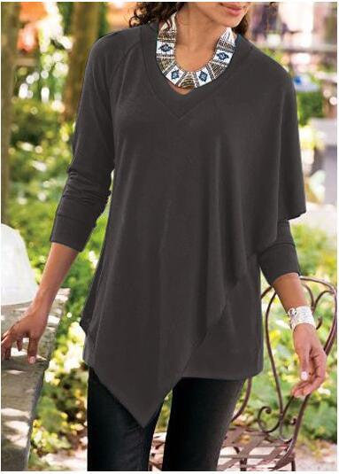 V-neck Pure Color False Two Picture Cloak Blouse - Oh Yours Fashion - 3