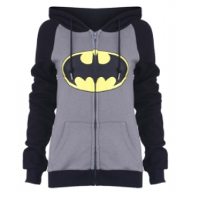 Batman Print Zip Up Women Hoodie - MeetYoursFashion - 2