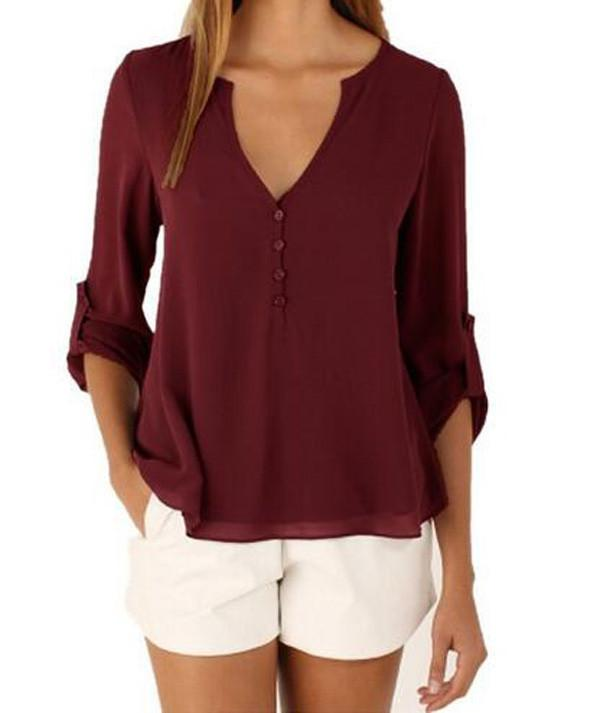 V-neck Long Sleeves Loose Plus Size Chiffon Blouse - Meet Yours Fashion - 3