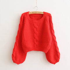 Cable Sleeve Coarse Yam Pure Color Pullover Sweater - Oh Yours Fashion - 7