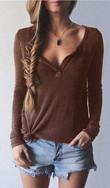 Ribbed Knit V-neck Pure Color Long Sleeves Sweater - Oh Yours Fashion - 5