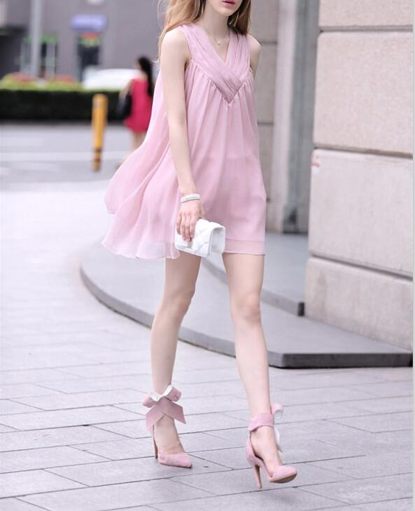 Chiffon Sleeveless Loose V-neck Short Maternity Dress - Meet Yours Fashion - 3