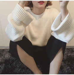 Pure Color Scoop Long Sleeves Loose Sweater
