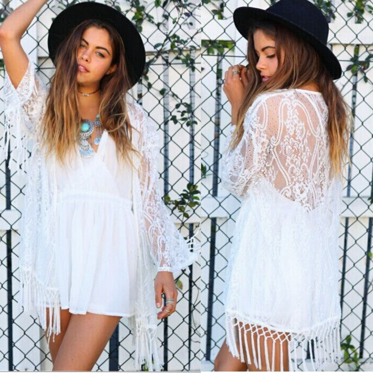 Lace Tassels Hollow Long Sleeve Short Cover Up Dress - Oh Yours Fashion - 1