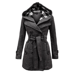 Plus Size Double Breasted Long with Belt Hooded Coat - Oh Yours Fashion - 1