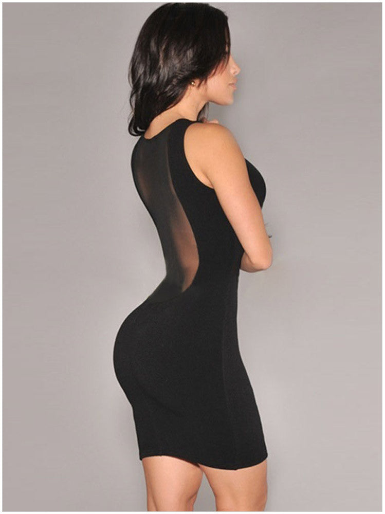 O-neck Mesh Transparent Backless Little Black Club Dess - O Yours Fashion - 4