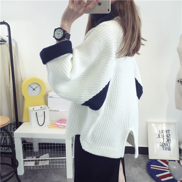 Korean Solid Color Knit Big Pullover Splicing Sweater - Oh Yours Fashion - 1