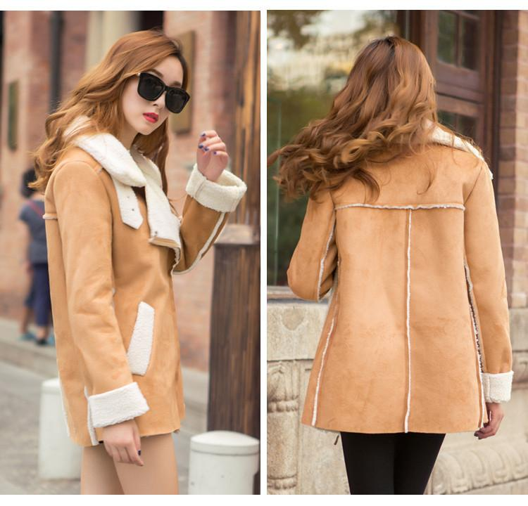 Lapel Faux Suede Warm Short Coat - Meet Yours Fashion - 1