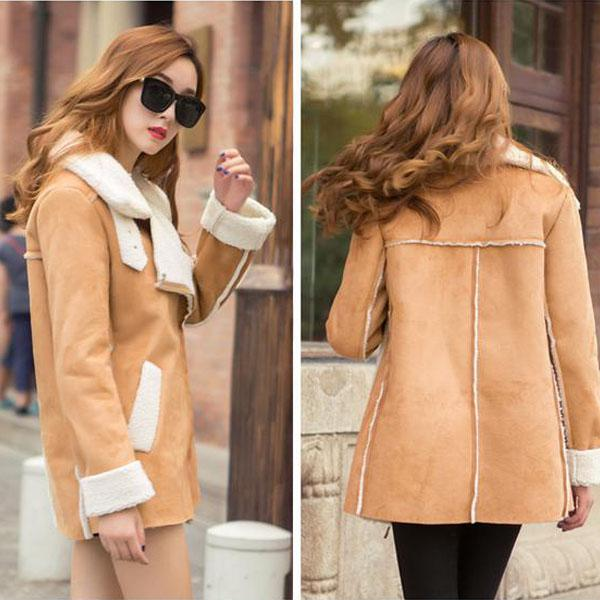 Lapel Faux Suede Warm Short Coat