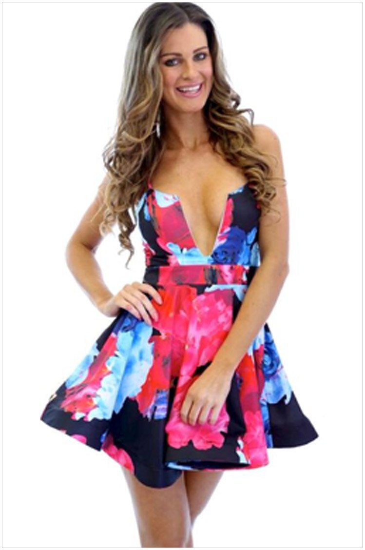 Floral Printing Straps Padded Short Dress - Meet Yours Fashion - 2