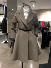 Belt Lapel Pleated Solid Pockets Long Coat - Oh Yours Fashion - 4