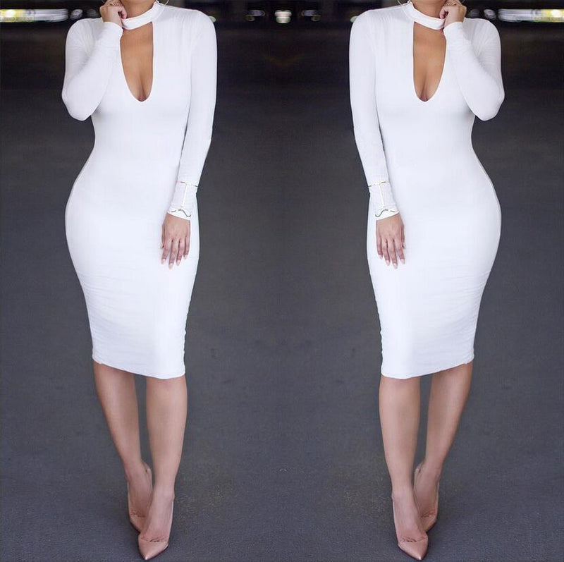 Pure Color High Neck Hollow Out Bodycon Long Dress - Oh Yours Fashion - 1
