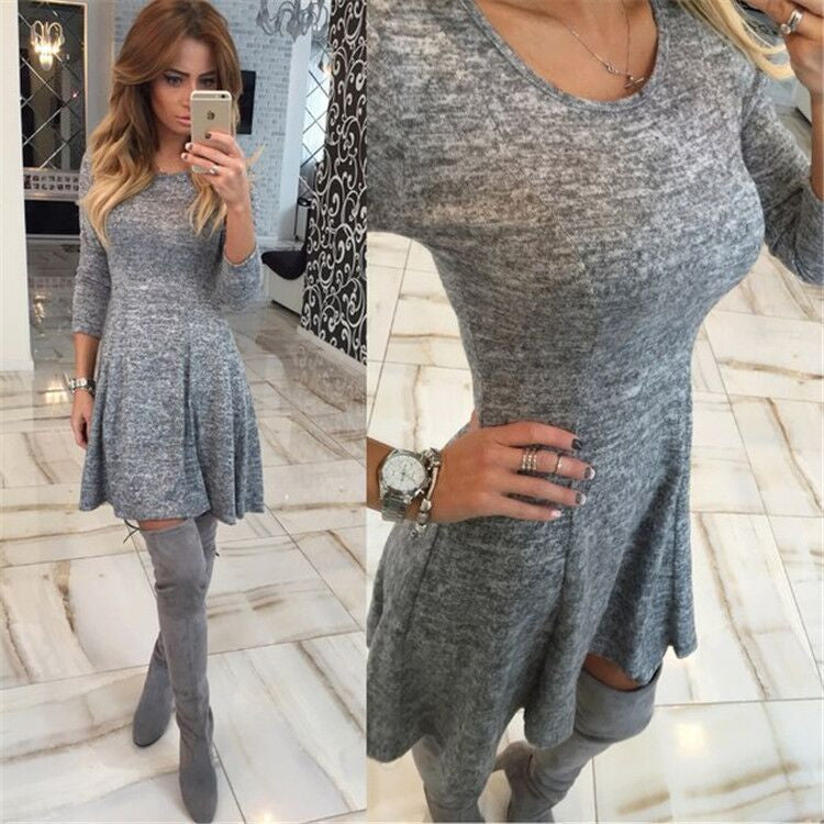 Fashion Gray A-Line Pleated Long Sleeve Short Dress - Oh Yours Fashion - 3
