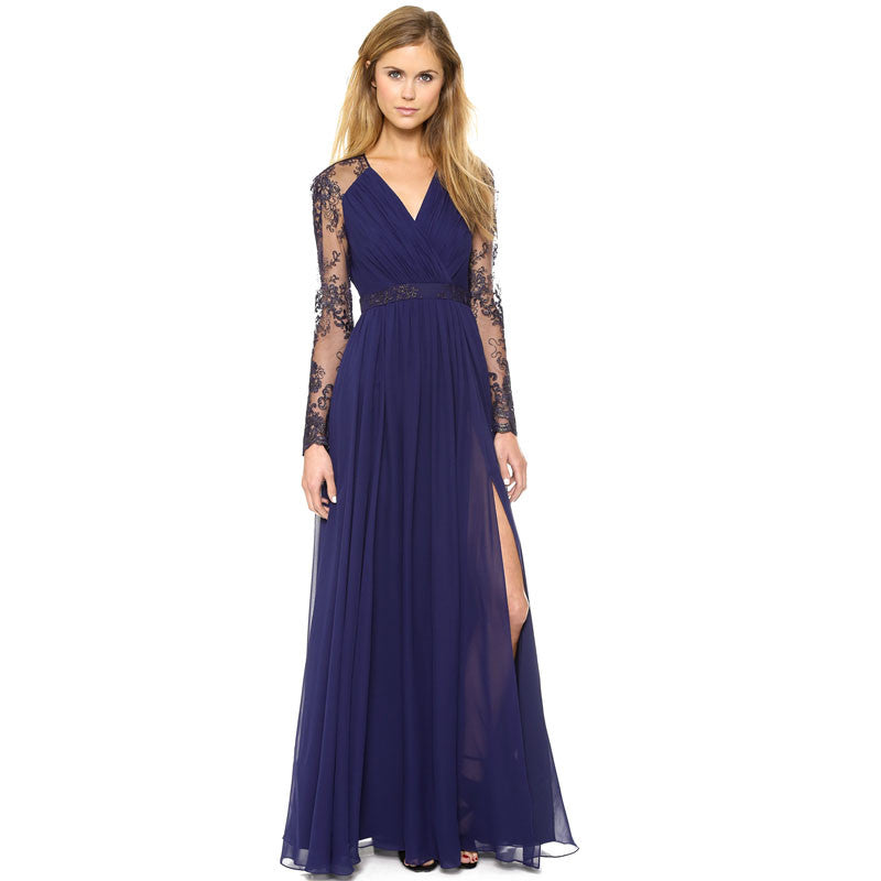 Beautiful Chiffon Lace Patchwork Deep V Neck Long Party Dress - Oh Yours Fashion - 4