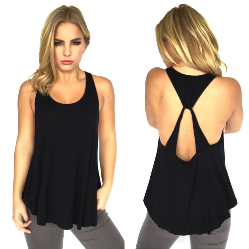 Scoop Sleeveless Backless Pure Color Backcross Blouse - Oh Yours Fashion - 4