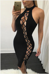 Bandage Bodycon Backless Solid Short Party Dress - Oh Yours Fashion - 5