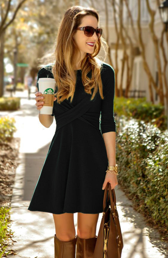 Fashion Cross Long Sleeve Scoop Short A-Line Dress - Oh Yours Fashion - 5