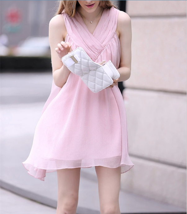 Chiffon Sleeveless Loose V-neck Short Maternity Dress - Meet Yours Fashion - 2