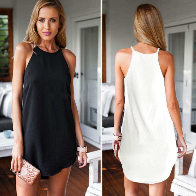Bear Shoulder O-neck Sleeveless Irregular Short Dress - Oh Yours Fashion - 1