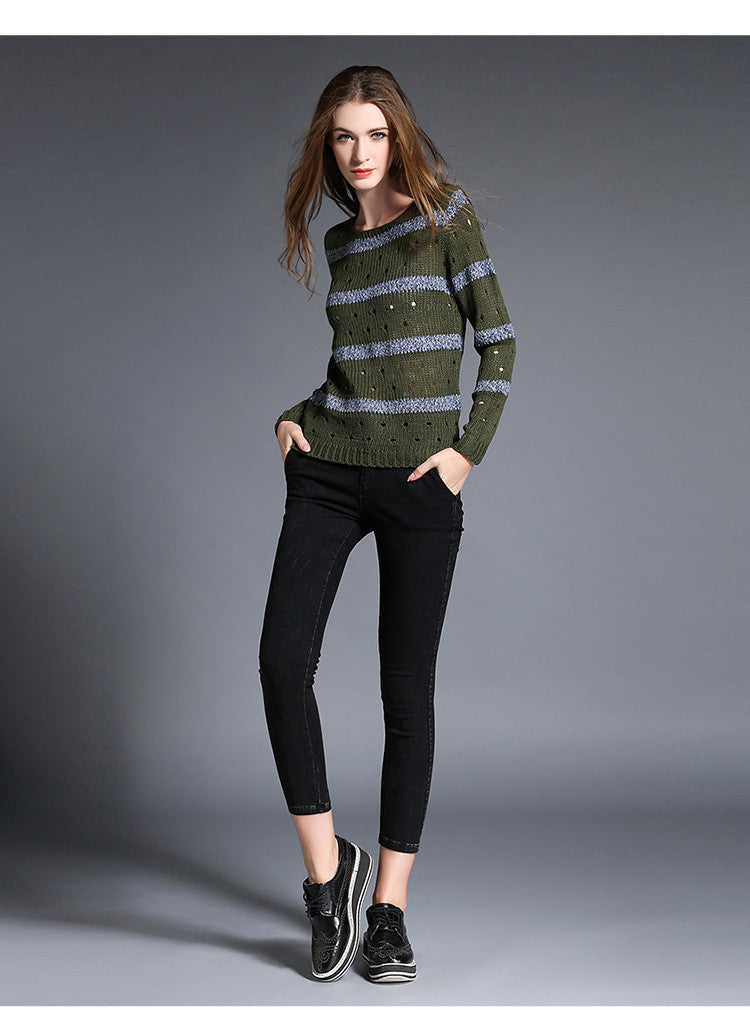 Fashion Stripe Hollow Out Pullovers Knitwear Sweater - Oh Yours Fashion - 3