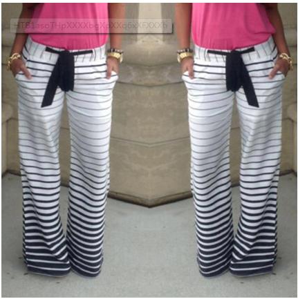 Drawstring Striped Wide Legs Casual Sport Pants - Oh Yours Fashion - 1